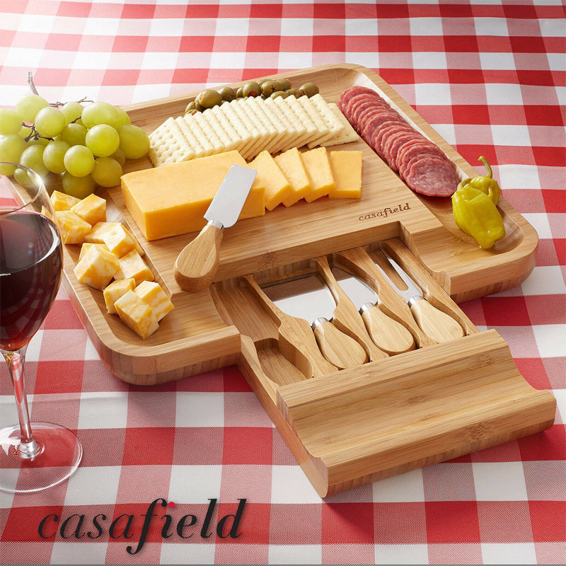Bamboo Cheese Cutting Board Knife Gift Set Wooden Meat Serving Tray