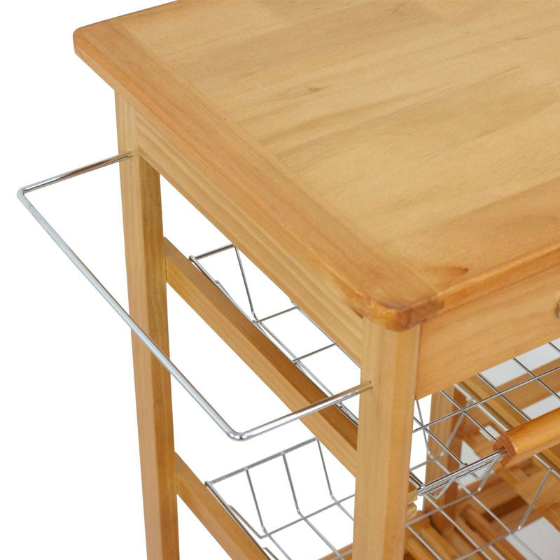 Wood Kitchen Storage Island Cart Trolley Basket Counter Top Table