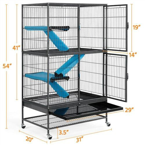 Large Rolling Metal Ferret Cage Chinchilla Guinea Pig Rat Critter