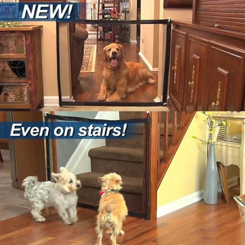 Magic Dog Gate Ingenious Mesh Dog Fence Indoor and Outdoor Safe Pet