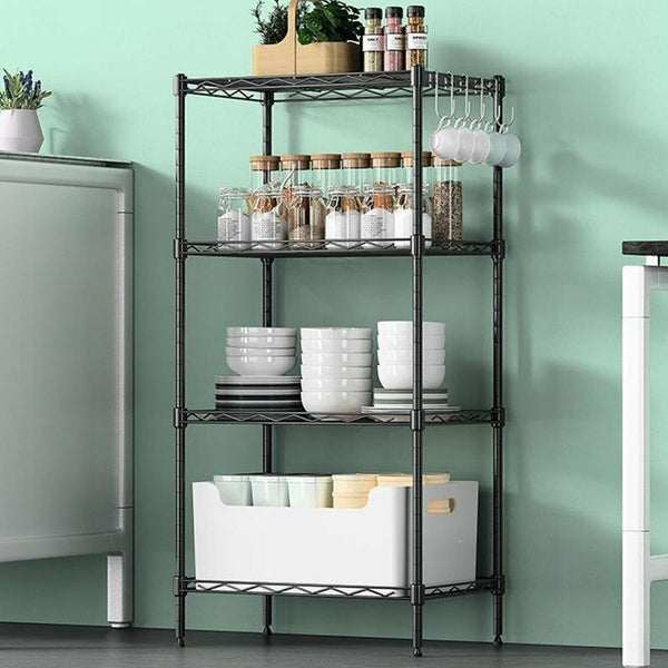4 Tiers Metal Kitchen Shelf Multi-functional Kitchenware Storage