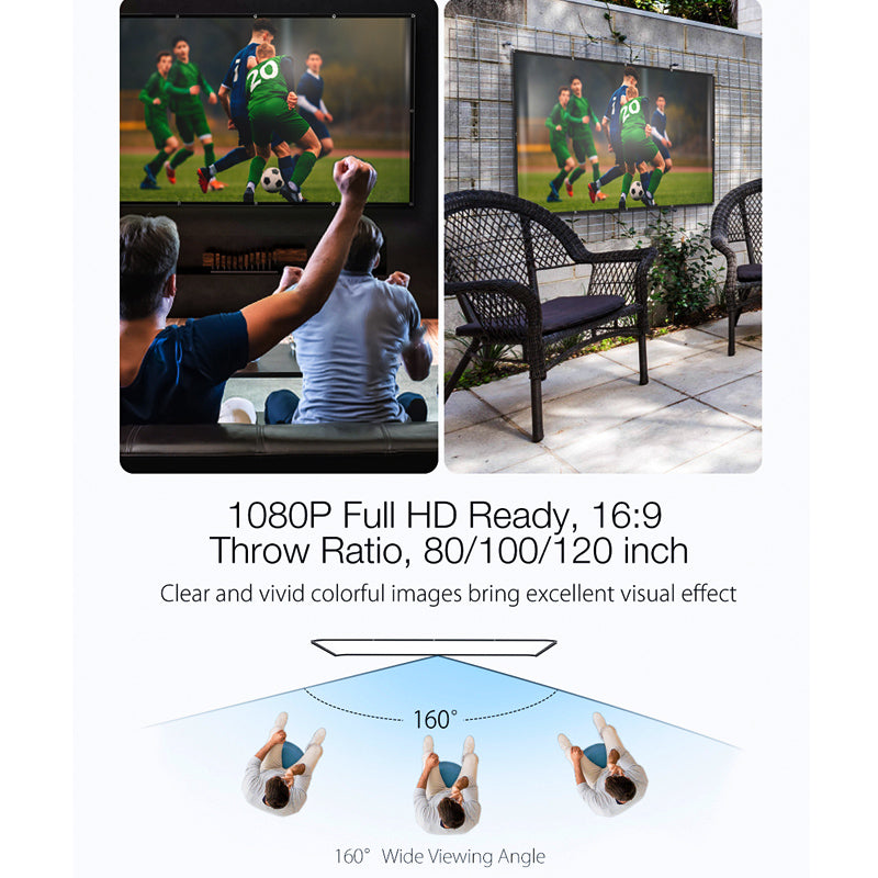 Portable Projector Simple Screen Curtain Foldable Polyester 1080P