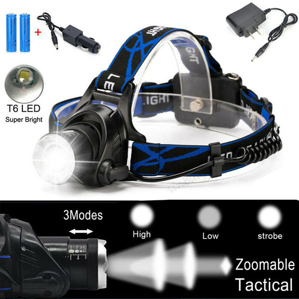 990000LM Rechargeable Head light LED Tactical Headlamp Zoomable
