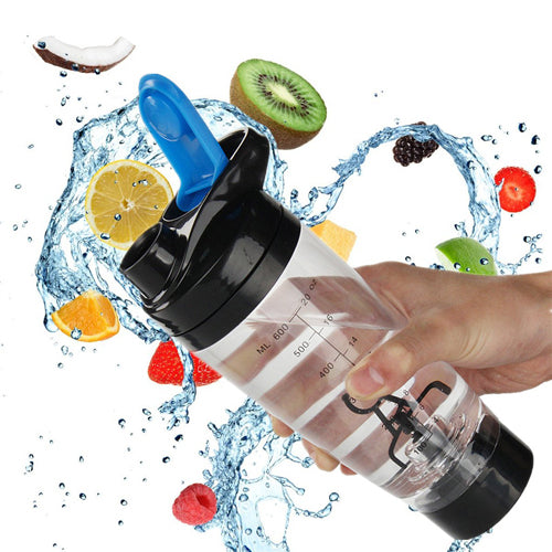 Electric Protein Shaker Bottle Portable Mixer Bike Drinking Cup 600ml