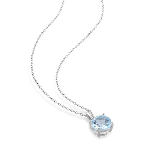 Amour Sterling Silver Sky Blue Topaz Earring Necklace Jewelry Set