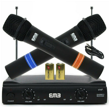 Wireless Microphone System Dual Handheld Cordless Karaoke Mic