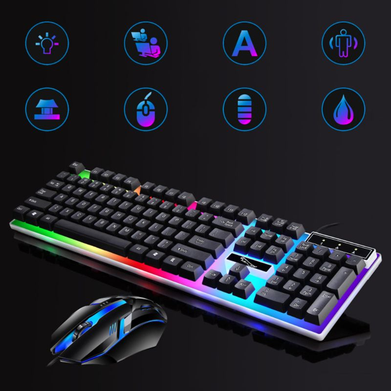 G21B 104 Key USB Wired Gaming Keyboard and Mouse Set RGB Backlight for Laptop Computer PC - Black
