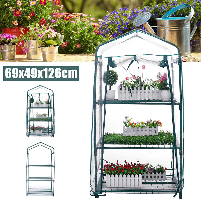 Mini Greenhouse 4 Metal Shelves Indoor/Outdoor Greenhouse with Cover