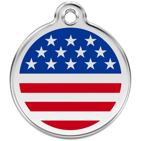 Red Dingo - Enamel Pet ID Tag - US Flag