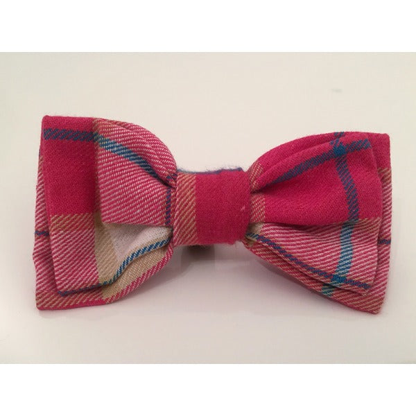 Pink Plaid Bow Tie