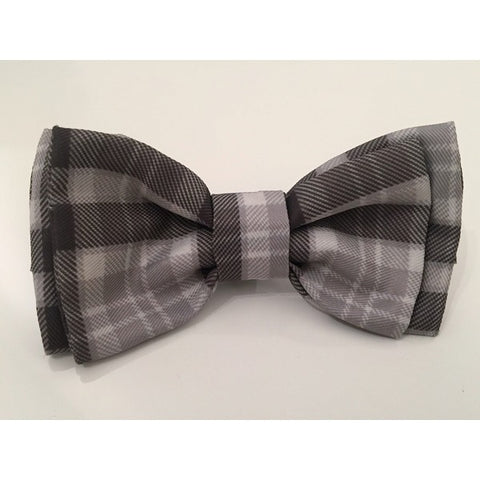 Grey Check Bow Tie