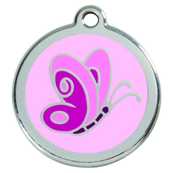 Red Dingo - Enamel Pet ID Tag - Pink Butterfly