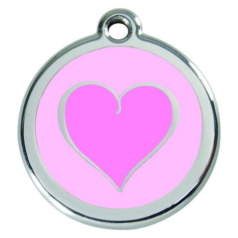 Red Dingo - Enamel Pet ID Tag - Pink Heart