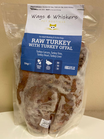 Wags & Whiskers Raw Turkey Complete 1KG