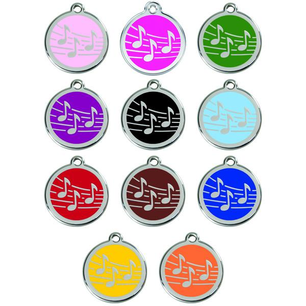 Red Dingo - Enamel Pet ID Tag - Musical Notes