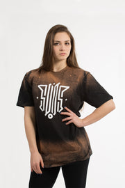 suos clothing abbigliamento streetwear T SHIRT LOGO BLACK BLEACH