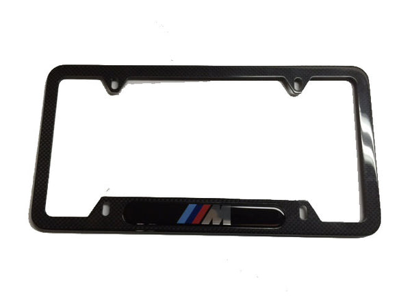 Genuine BMW License Plate Frame - M Logo w/ Carbon Fiber Composite