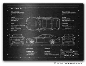 "BMW Engineered Art Laser Etched Blueprint Artwork 23""x16.5"""
