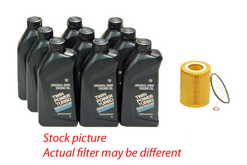 BMW 5 Series E60 545 550 Oil Change Kit (9 BMW 5w30 Motor Oil + Hengst Oil Filter)