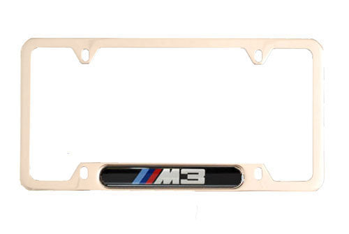 Genuine BMW License Plate Frame - Silver M3