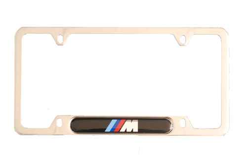 Genuine BMW License Plate Frame - Silver M