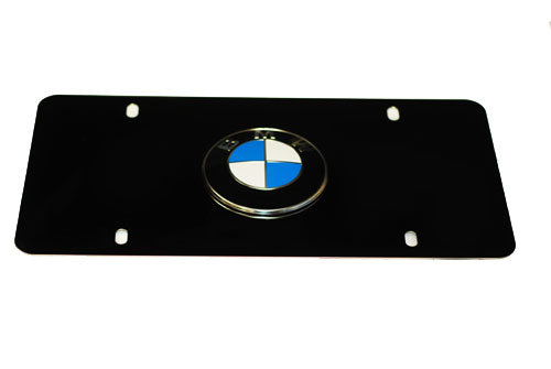 Genuine BMW License Plate - BMW Logo w/ Black Stainless Steel Plate