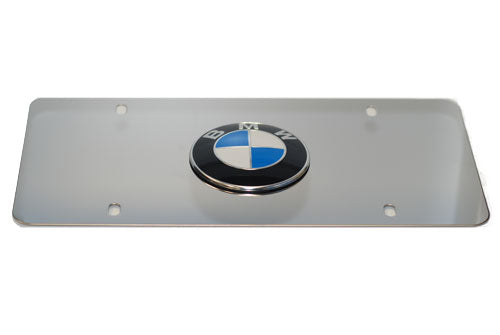 Genuine BMW License Plate - BMW Logo w/ Mirrored Stainless Steel Plate