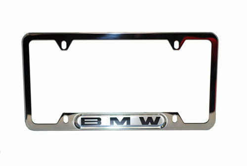 Genuine BMW License Plate Frame - Silver with BMW Name