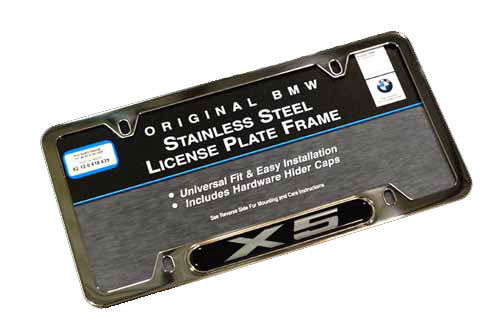 Genuine BMW License Plate Frame - Silver X5