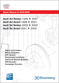 Audi A4 96-01, S4 00-02 Service Repair Manual DVD (AB55)