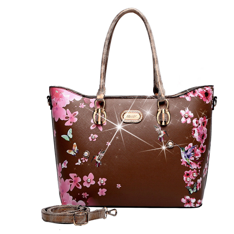 Hummingbird Bloom Scratch & Stain Resistant Top-Handle Bag - Brangio Italy Collections