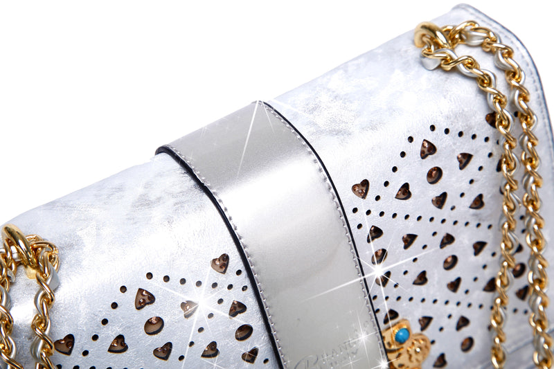 Sparkle of Hearts Clutch Womens Crossbody Bag With Sparkling Crystals Strap - Brangio Italy Collections