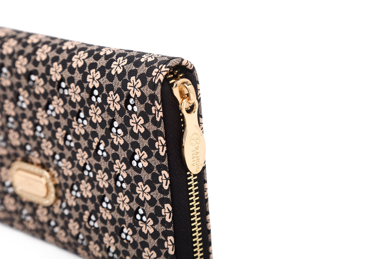 Diamond Bling Handmade Wristlet Wallet with Multiple Card Pockets - Brangio Italy Collections