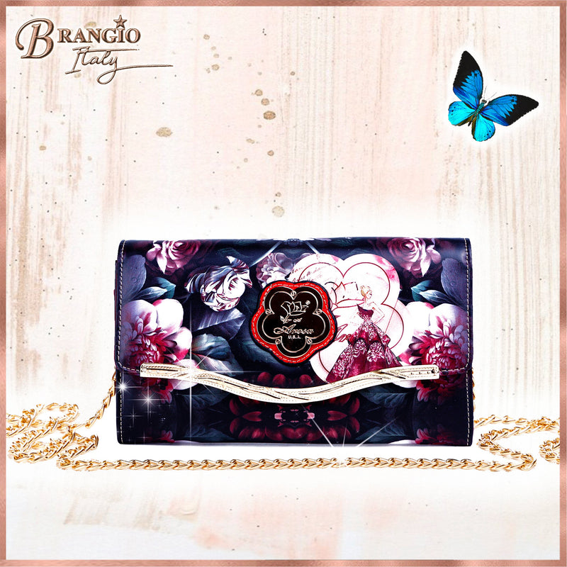 Queen Arosa Clutch Womens Crossbody Bag with Cards Slot & Phone Wallet - Brangio Italy Collections