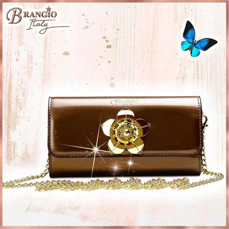 Floral Accent Womens Luxury Wallet Cell Phone Clutch - Brangio Italy Collections