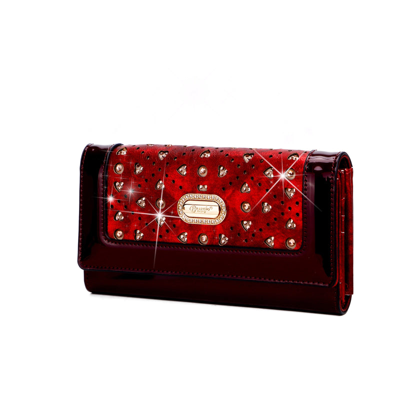 Sparkle of Hearts Envelope Shaped Womens Wallet with Phone Holder - Brangio Italy Collections