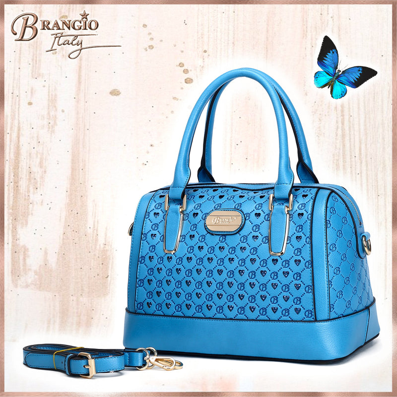 Millionaire Goddess Double Layer Crystal Engraved Dome Satchel - Brangio Italy Collections