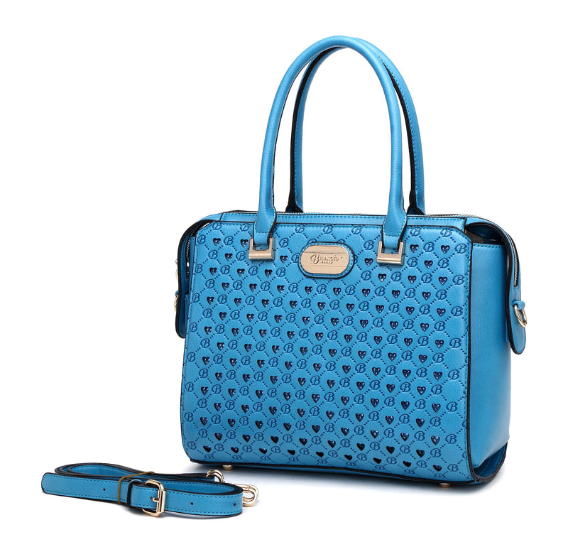 Millionaire Double Layer Crystal Engraved Matte Satchel - Brangio Italy Collections