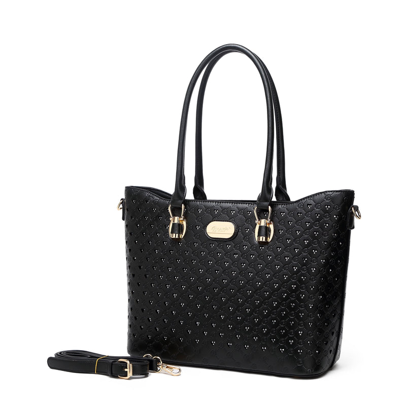Millionaire Queen Double Layer Crystal Engraved Tote - Brangio Italy Collections