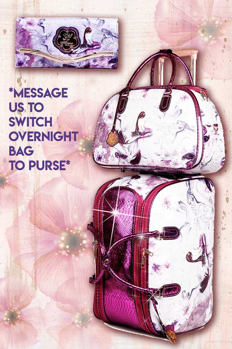 Princess Mera 3PC Set | Rolling Duffel Bag Set + Wallet - Brangio Italy Collections