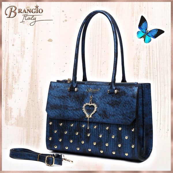 Heart 2 Heart Handmade Medium Elegant Satchel - Brangio Italy Collections