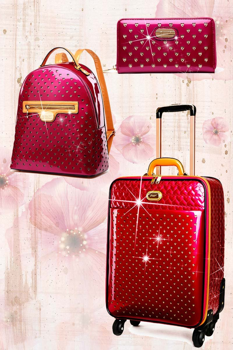 Starz Art 3PC Set | Luxury Women Overnight Bag Set with Spinning Wheels - Brangio Italy Collections
