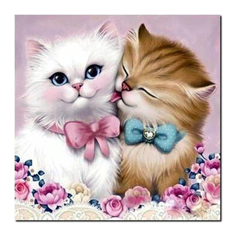 Broderie Diamant Couple de Chatons