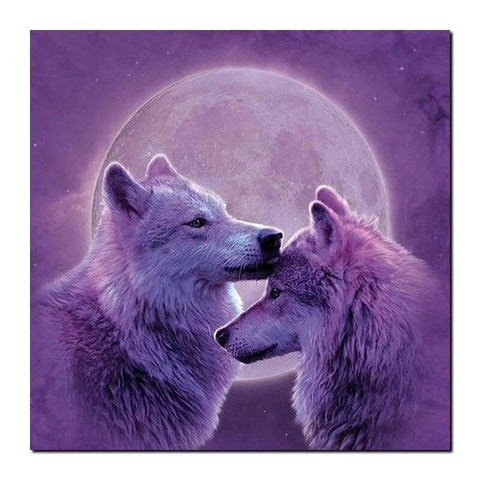 Broderie Diamant Couple de Loup
