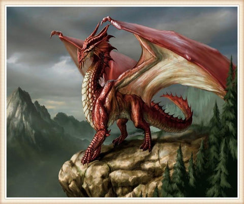 Broderie Diamant Dragon Rouge