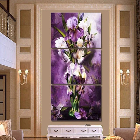 Broderie Diamant Grand Bouquet Violet