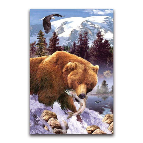 Broderie Diamant Grizzly Brun