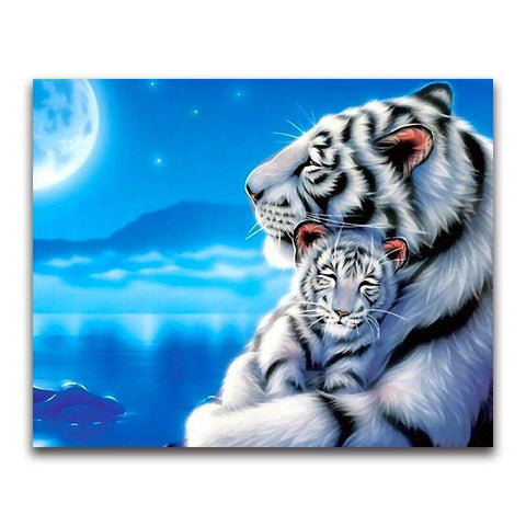 Broderie Diamant Illustration Tigre Blanc