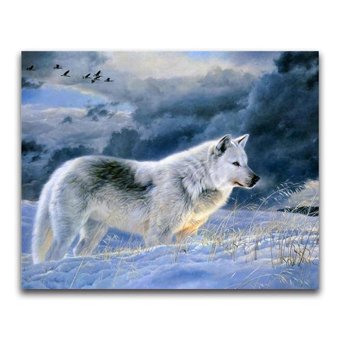 Broderie Diamant Loup Blanc Pensif