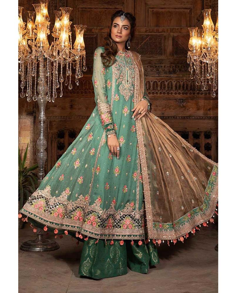 Maria B Unstitched EMBROIDERED Aquamarine & Pearl Salwar Suits - BD-1701